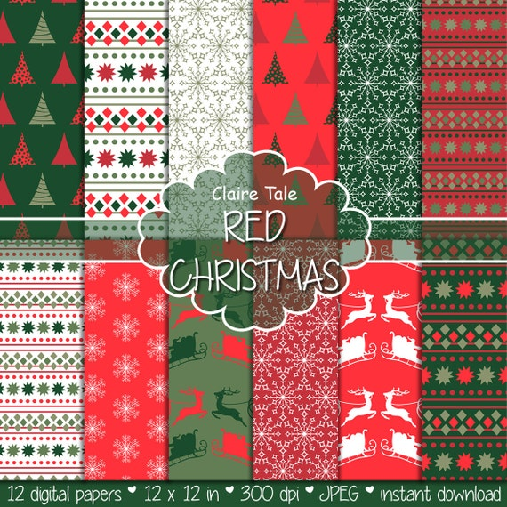 "Christmas digital paper: Christmas paper ""CHRISTMAS IN RED"" backgrounds with deers, santa, snowflakes, christmas trees"