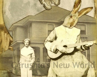 Guardian of the Melody Maker  -  Collage, Mixed Media, Anthropomorphic, Rabbit, Music