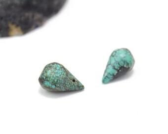 Turquoise Briolettes 10x17mm 2pcs