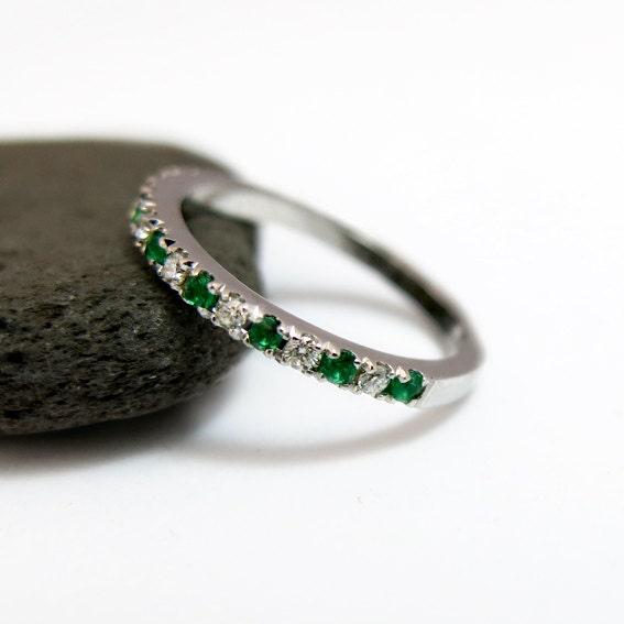 Emerald And Diamond Wedding Ring Half Eternity Ring