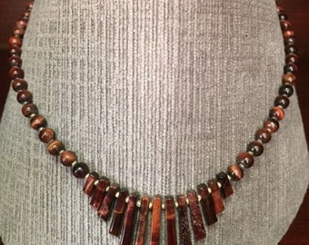 19 inch Red Tigereye Beaded Fan Necklace