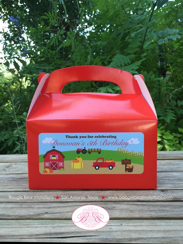 Black Treat Favor Boxes : Farm harvest party treat boxes favor tags bag birthday girl