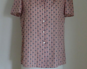 70's Blouse Top Puff Sleeves Mauve Calico Stripes.