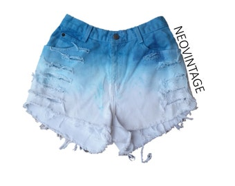 Teal Turquoise Blue Ombre Dyed High Waisted Denim Frayed Festival Shorts