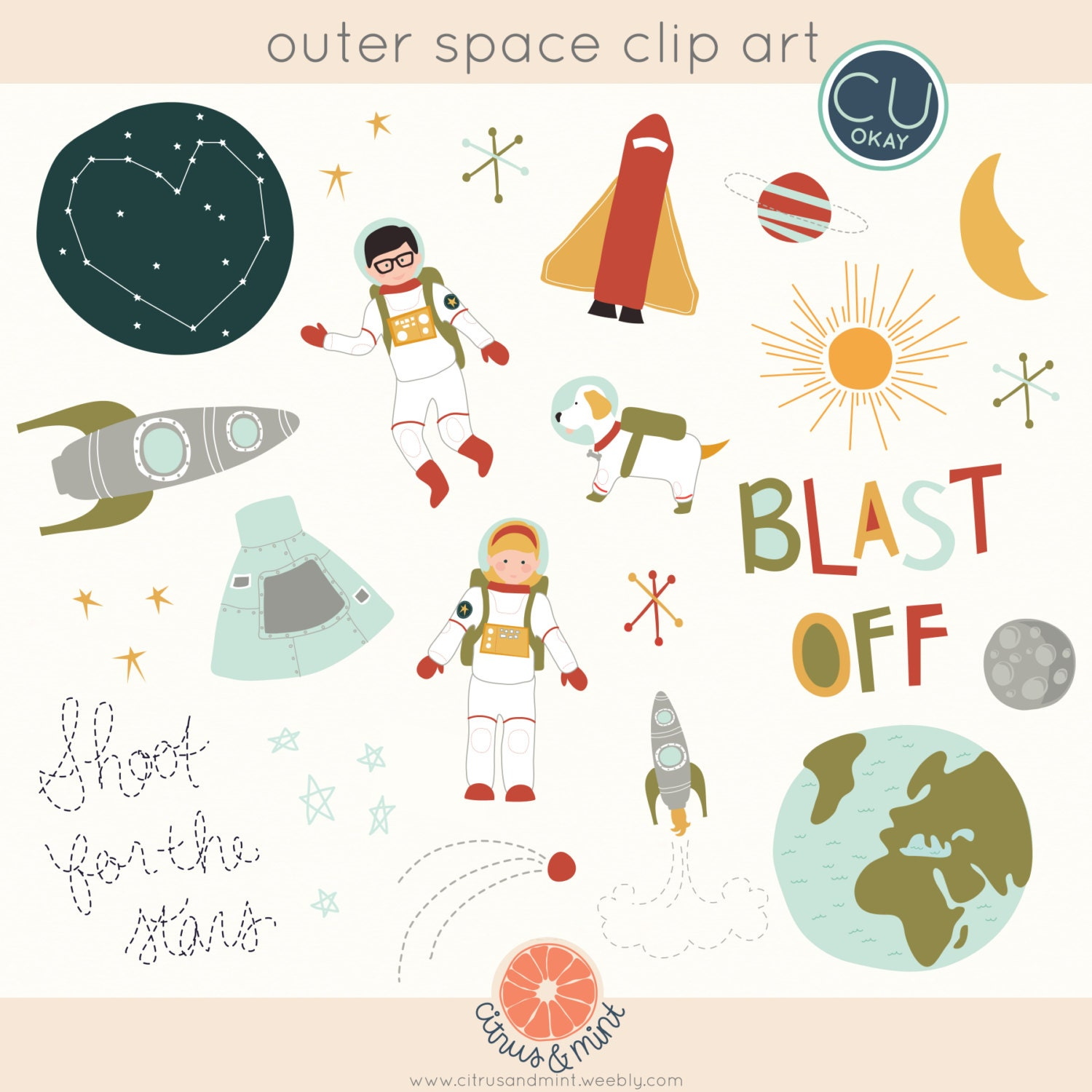 Outer space clip art graphics hand drawn digital for Outer space industrial design