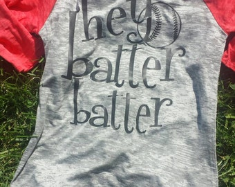 Hey Batter Batter B-Ball 3/4 Length Burnout T-Shirt