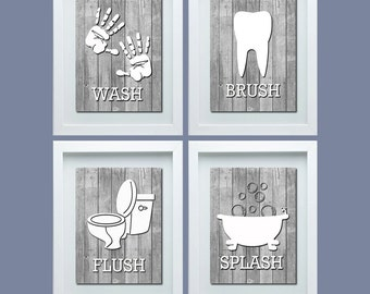Bathroom Rules, Shabby Chick Bathroom Decor, Kids Bathroom Decor, Rustic Bathroom Wall Art, Kids Bathroom Wall Art, Gray White Decor