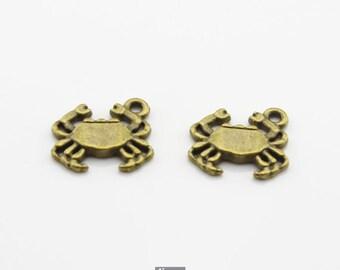 15pcs 14x15mm Antique Bronze Crab Charm Pendant