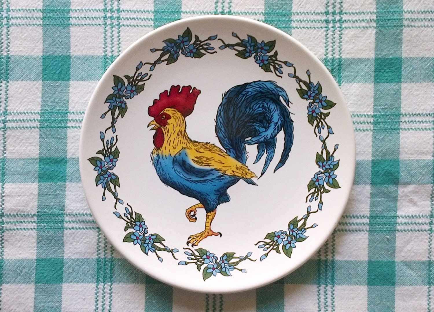 Blue Rooster Chicken Decorative Plate - 8 inch - Made in China & Blue Rooster Chicken Decorative Plate - 8 inch - Made in China ...
