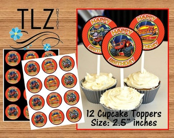 Blaze & the Monster Machines Cupcake Toppers -  Instant Download Printable Digital File