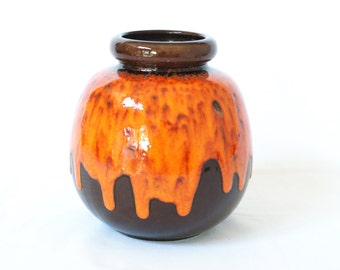 West German Pottery Vase, Scheurich 284-19, Retro Orange Brown, Fat Lava Drip Glaze, Made in Germany, Pumpkin Shaped, Fat Lava, Mid Century