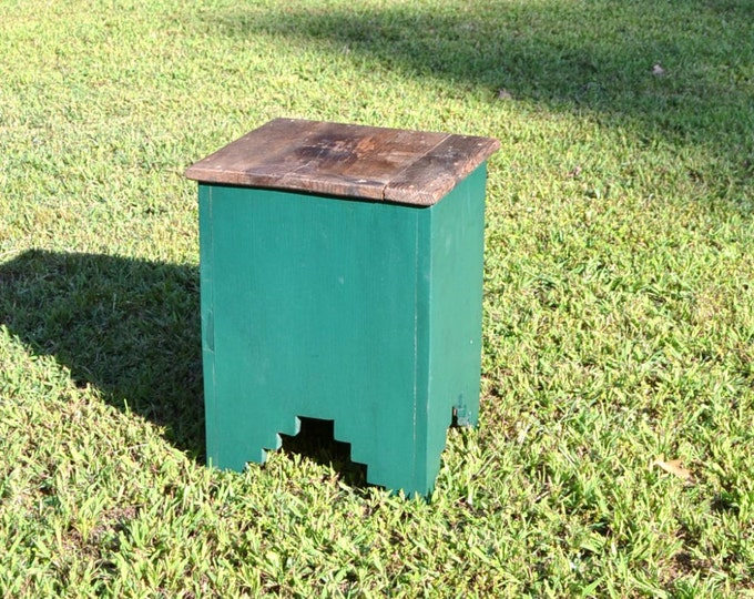 Vintage Wooden Table Green Rustic Plant Stand Small Primitive Table Panchosporch