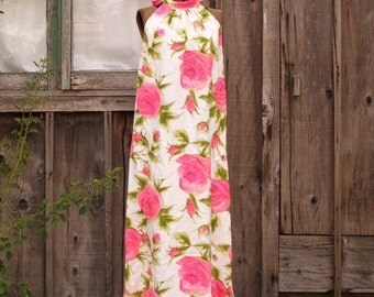 Reserved!!!  Vintage Bright and Bold Maxi Dress Cotton Sleeveless Pink Roses