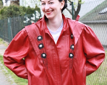 Vintage leather jacket 80s style ladies jacket women's blouson red