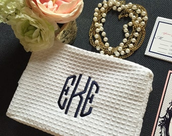 Monogrammed Make up Bag | Cosmetic Bag | Waffle Makeup Bag | Travel Bag | Gifts for Her | Monogram Gifts | Personalized Gifts | Make Up Bag