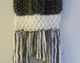 Wall Hanging - Bohemian Hand Knit Cream and Brown Wall Decor - Fiber Art