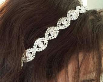 "Rhinestone Bridal Hair Accessory - ""DARICE"" -  On Satin Ribbon, Headband or Combs"