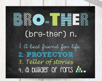 Personalized Brother Wall Art - Brother wall decor - INSTANT DOWNLOAD Baby shower gift - green, blue, grey 8x10