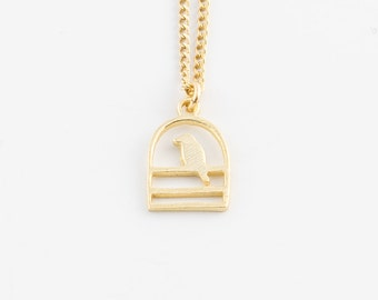 Gold dipped bird necklace   Tiny gold necklace, Small pendant necklace, Gold vermeil jewelry, Birdcage necklace