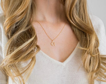 Simple gold necklace | Geometric necklace with diamond-shaped pendant, Brushed gold finish, Minimalist jewelry
