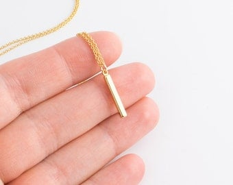 Tiny Gold Bar Necklace | Vertical bar necklace, Dainty gold necklace, Delicate pendant necklace, Minimalist jewelry