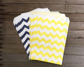 48 Navy and Yellow Favor Bag--Chevron Favor Bag--Candy Favor Bag--Chevron Goodie Bag--Chevron Party Sack--Birthday Treat Sacks
