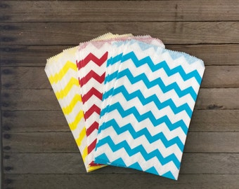 48 Yellow, Red, Blue Favor Bag--Circus Theme party--Chevron Favor Sack--Circus Goodie Bag-- Party Sacks--Birthday Treat Sacks
