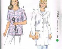 UNCUT Size XS-XL Women's Button Front Medical Lab Coat & Scrub Top Sewing Pattern - Kwik Sew 3347