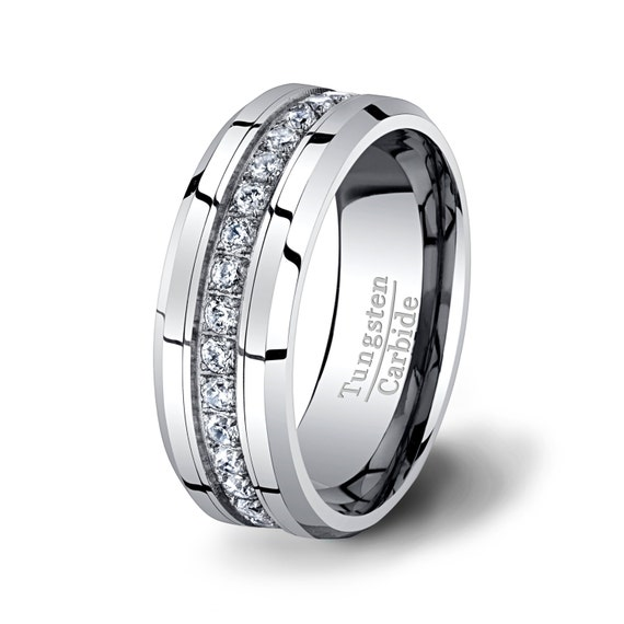 Mens Wedding Band High End Tungsten Ring 8mm By TungstenOmega