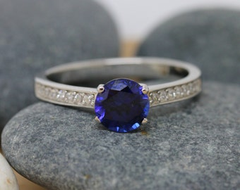 1ct Genuine Blue sapphire Solitaire ring available in white gold or sterling silver - engagement ring - wedding ring - silver ring