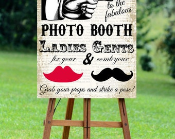 printable Photo Booth sign, Step right up!, digital photo booth sign, Photo booth props, photo booth sign, 16 x 20, you print