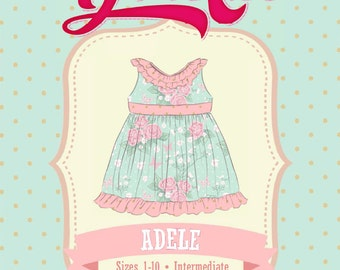 Adele Dress PDF Sewing Pattern, Ruffle Neckline: Sizes 1 to 10