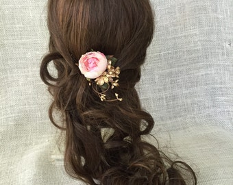 Pink and gold wedding flower hair accessory, gold flower hair pin, pink flower hair clip, wedding, accessories, gold, woodland, hair