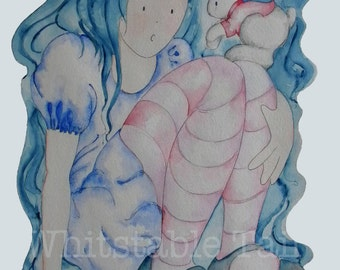 Alice in Wonderland and the White Rabbit I: print from an original painting by Annie Taylor