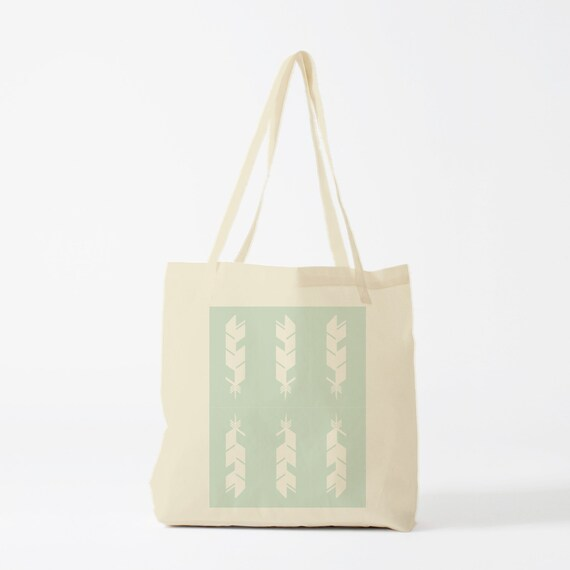 Tote Bag Green Feathers, groceries bag, cotton bag, novlety gift, yoga bag, sports bag, gift for coworker, bambouchic canvas bag.