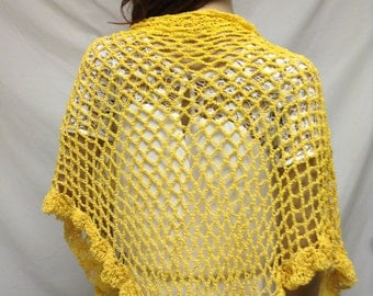 Yellow Knit Shawl ,Ruffled ,Wrap,knit wrap