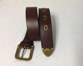 Free Ship Ralph Lauren Leather Belt Brass Buckle