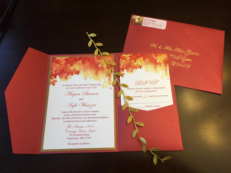 Fall Wedding Invitation Wording: Fall Wedding Pocketfold Invitation Suite Autumn Leaves