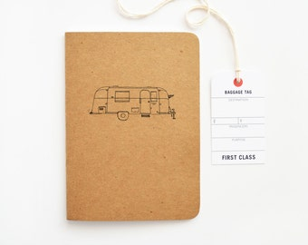 Kraft Travel Journal, Travel Notebook with Airstream RV Illustration | Hand Illustrated Traveler's Journal