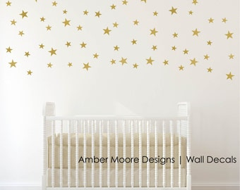 Gold Vinyl Wall Decal Sticker- Wall Art Stars - Gold Star Decal Set for Baby Nursery Wall - Gold Confetti Stars