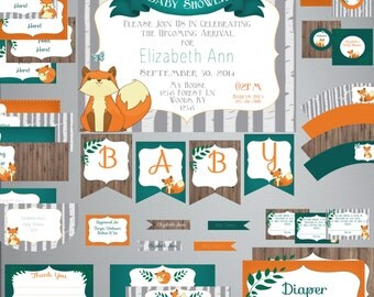 Beautiful Woodland Fox BABY Shower Kit DIY Printable Instant Download Editable  File Birch
