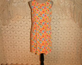 Vintage 80s Summer Dress Orange Floral Dress Sleeveless Shift Flower Power Casual Dress Scoop Neck Midi Dress Small Medium Womens Clothing