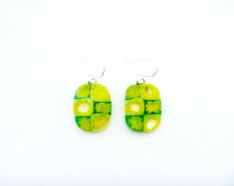 Kiln-fused earrings in yellow and green glass flowers on sterling silver ear wires/Handmade floral earrings