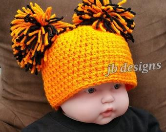 Baby's first Halloween, newborn Halloween costume, Halloween pictures, team spirit, black and orange hats pom pom hats, team colors