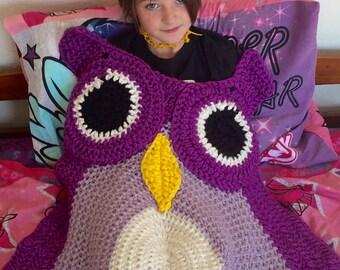Owl Blanket, Crochet Animal Afghan