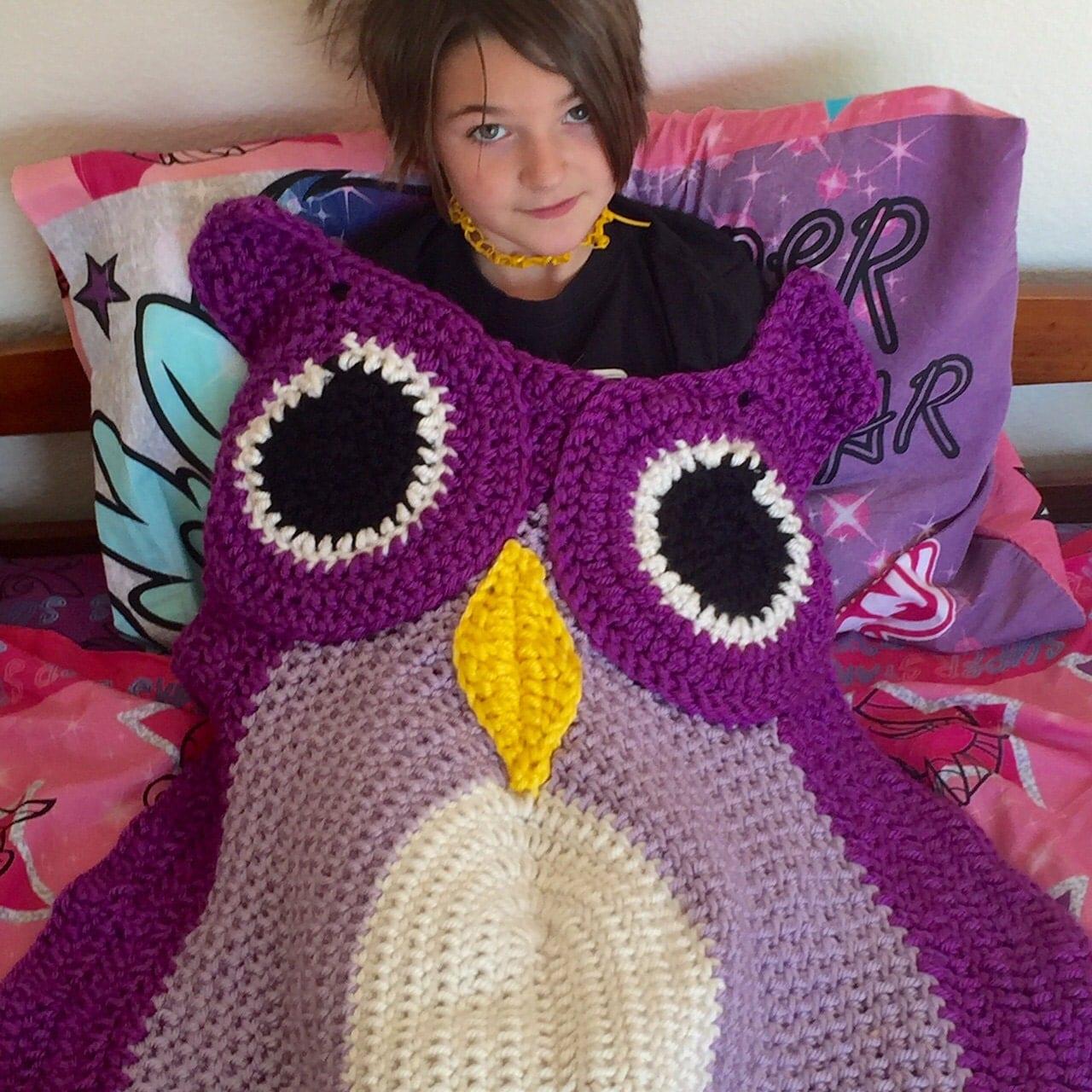 Owl Blanket Crochet Afghan Adult Lapghan Kids by SweetBabyDesi