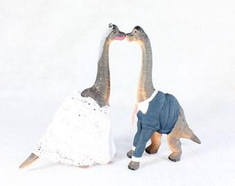 Custom Dinosaur Bride & Groom  Wedding Cake Toppers Brachiosaurus