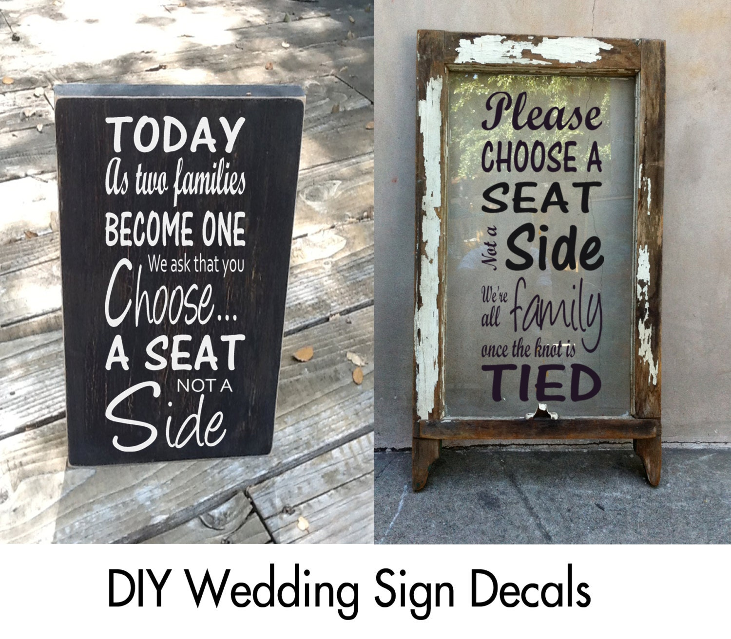 Choose A Seat Not A Side Sign Decal Wedding Decals Today