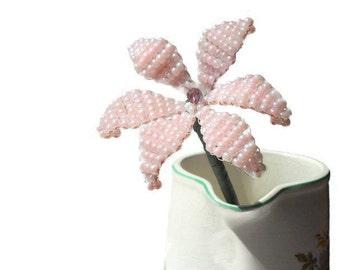 Single Stem Flower, Czech Glass Beaded Flower, Wedding Centerpiece, Wedding Keepsake, Floral Table Decoration, Pink Beaded Flower