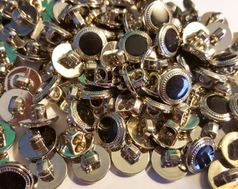"""1/2"""", Black & Silver Bulk Buttons for Crafts, Sewing, Jewelry and More - Button Lot- 100 buttons in each bag"""